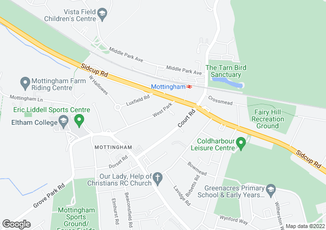 Map for West Park, Mottingham, SE9