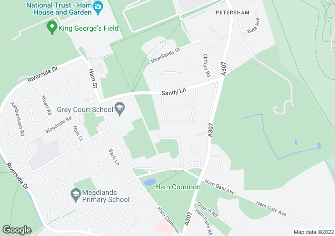 Map for Petersham, Richmond, TW10