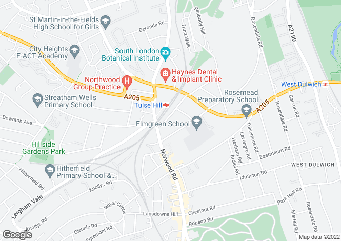 Map for Avenue Park Road, Tulse Hill, SE27
