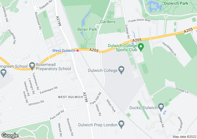 Map for Alleyn Park, Dulwich, SE21 8AA