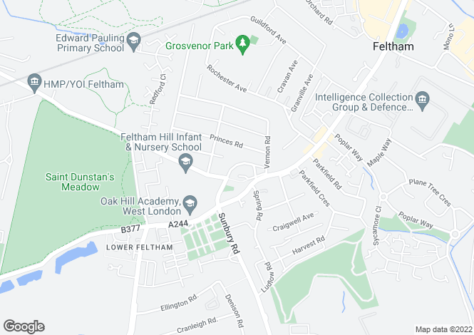Map for St. Dunstans Road, Feltham, Middlesex, TW13