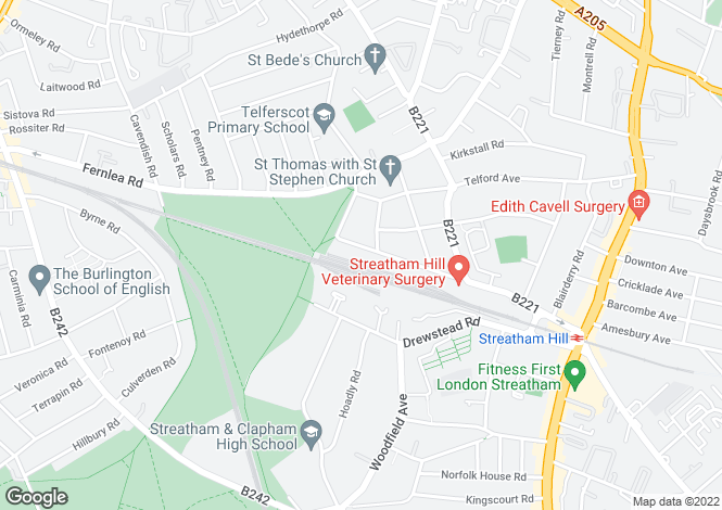 Map for Sternhold Avenue, Streatham Hill, SW2