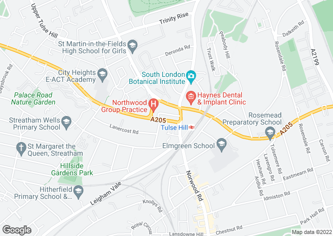 Map for Perran Road, Tulse Hill, SW2