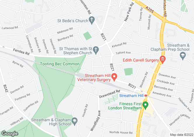 Map for Criffel Avenue, Streatham Hill, SW2