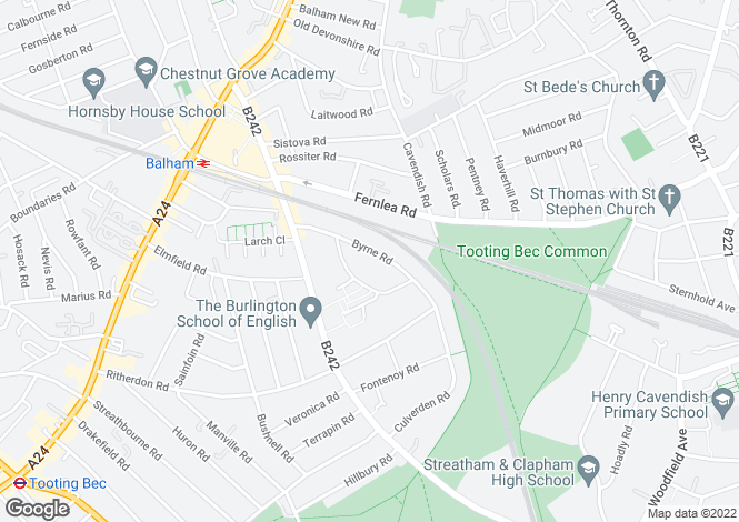 Map for Byrne Road, London SW12