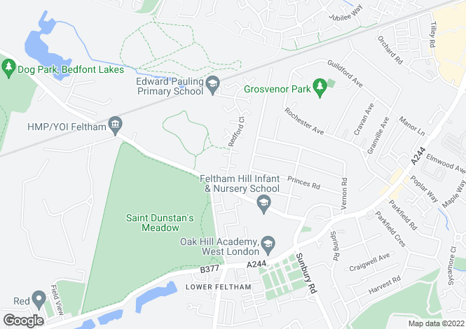 Map for Redford Close, Feltham