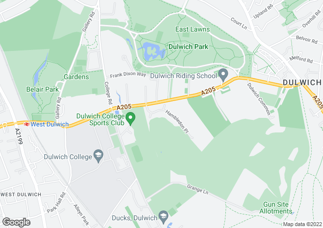 Map for Hambledon Place, Dulwich Common