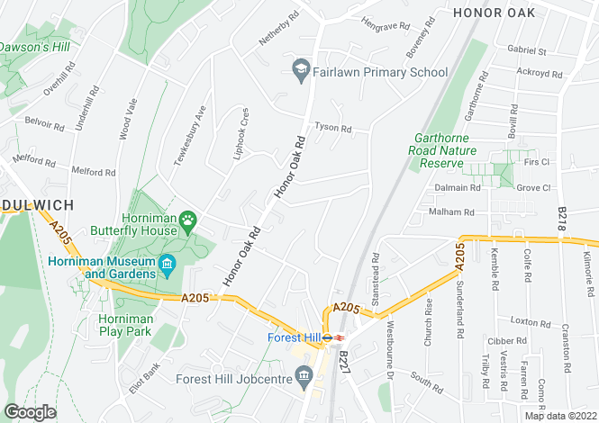 Map for Ewelme Road, Forest Hill, SE23