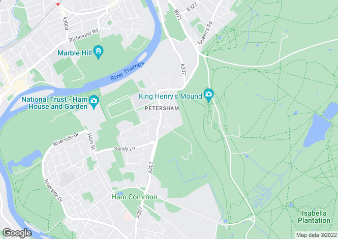 Map for Sudbrook Lane, Petersham, Richmond, Surrey, TW10