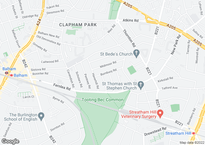 Map for Burnbury Road, Balham, SW12