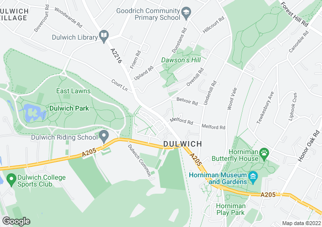Map for Lordship Lane East Dulwich SE22