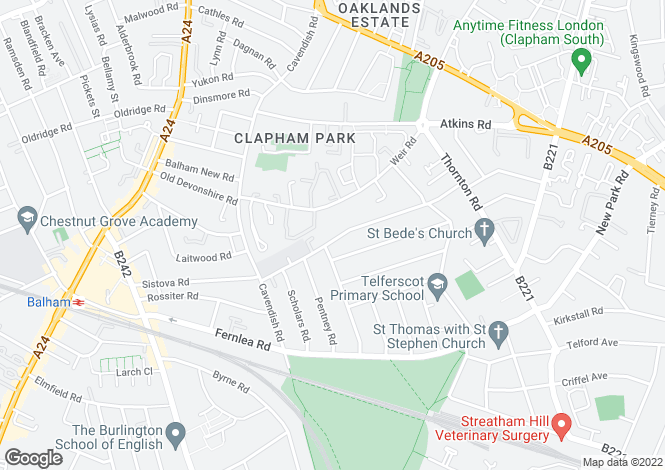 Map for Hydethorpe Road, London SW12