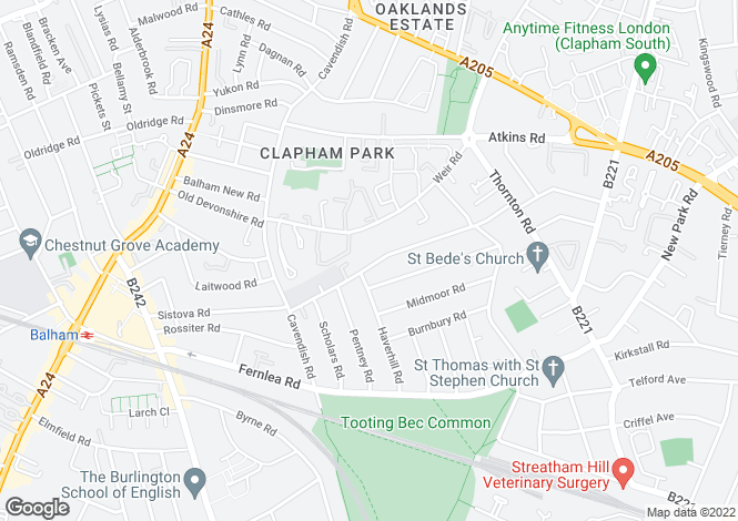 Map for Hydethorpe Road, Balham, SW12