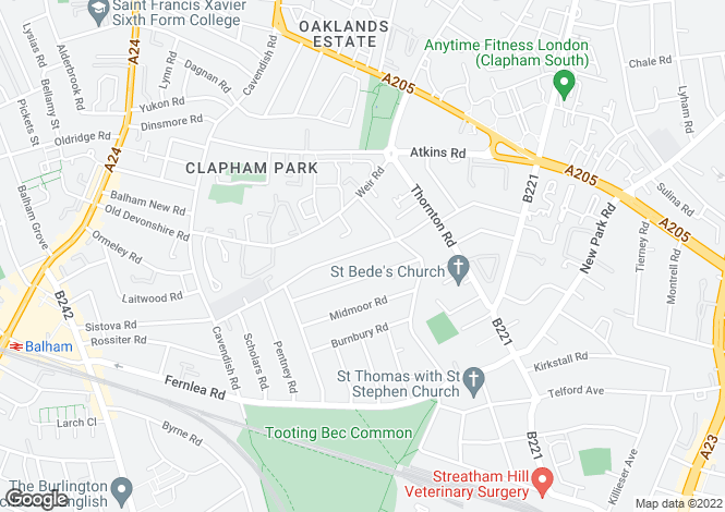 Map for Hydethorpe Road, Balham SW12