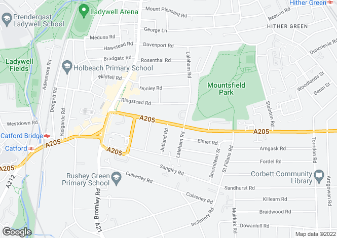 Map for Brownhill Road, Catford