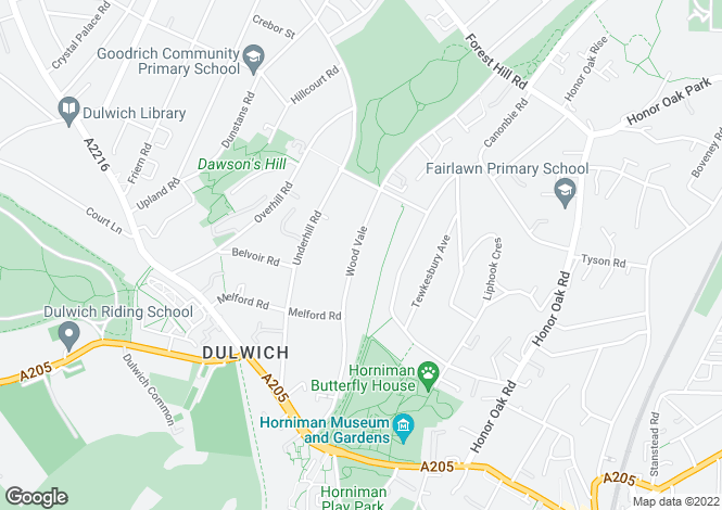 Map for Wood Vale, Dulwich, London SE23 3ED