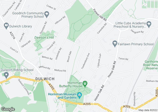 Map for Westwood Park, Forest Hill, London, SE23