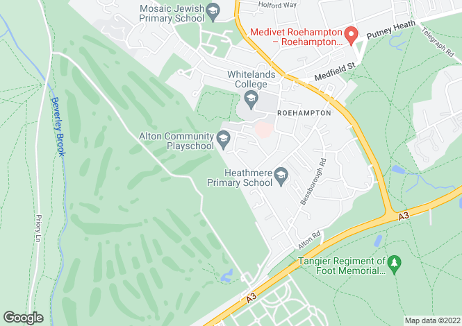 Map for Fontley Way, Roehampton, SW15