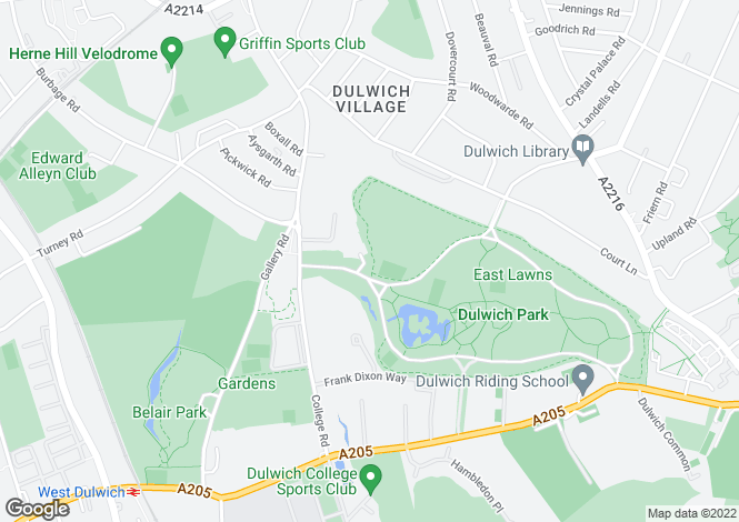 Map for College Road, Dulwich Village, London