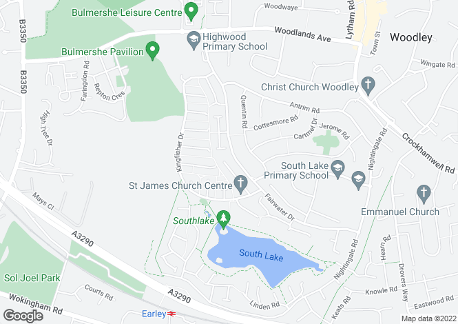 Map for Fairwater Drive, Woodley
