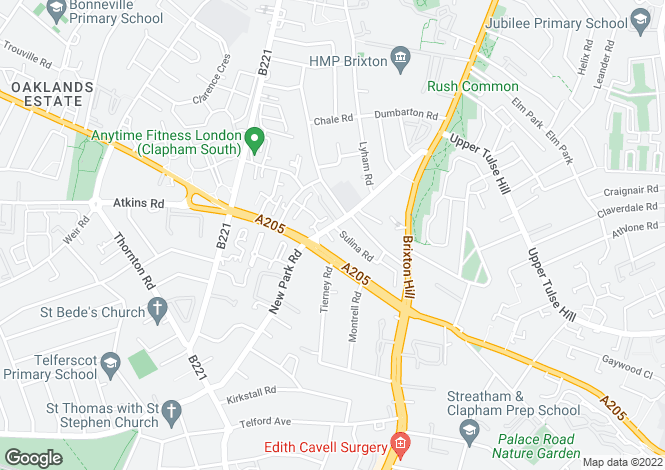 Map for New Park Road, Brixton Hill