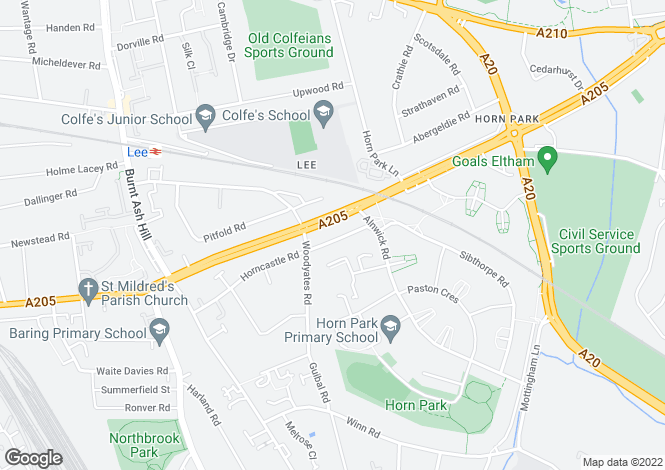 Map for Horncastle Road, Lee, London, SE12