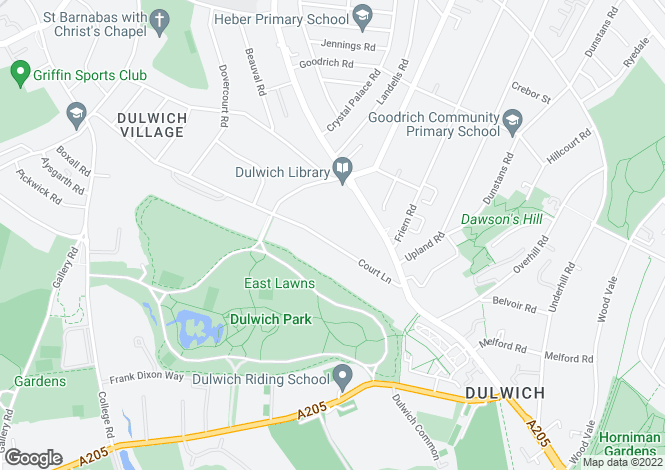 Map for Court Lane, Dulwich Village