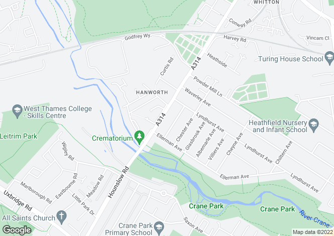 Map for Hanworth Road,