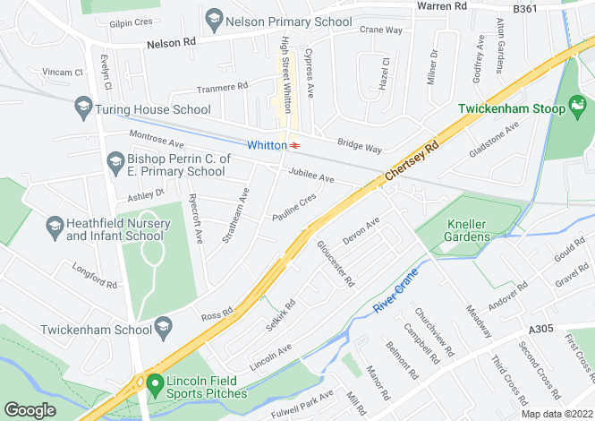 Map for Pauline Crescent, Whitton, Middlesx, TW2