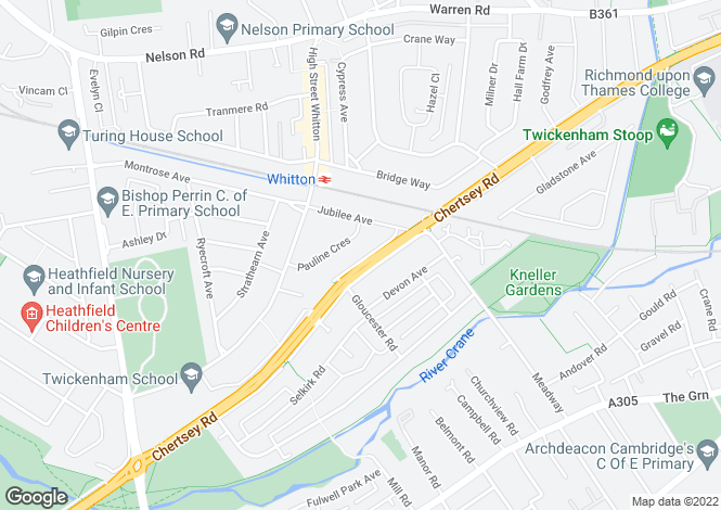 Map for Chertsey Road, Twickenham, TW2