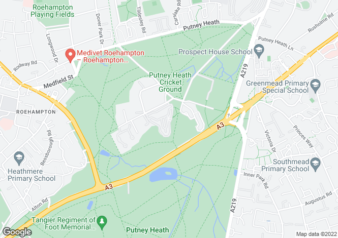 Map for Highlands Heath, Putney Heath
