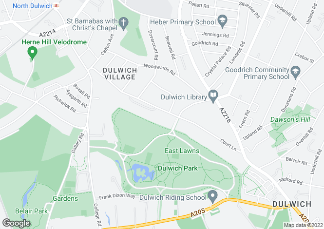 Map for Court Lane, Dulwich, London SE21