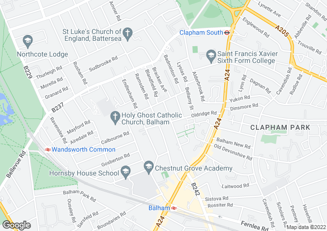 Map for Balham Grove, London SW12