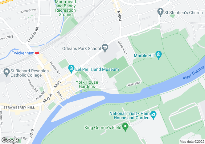 Map for Lebanon Park, Twickenham, TW1