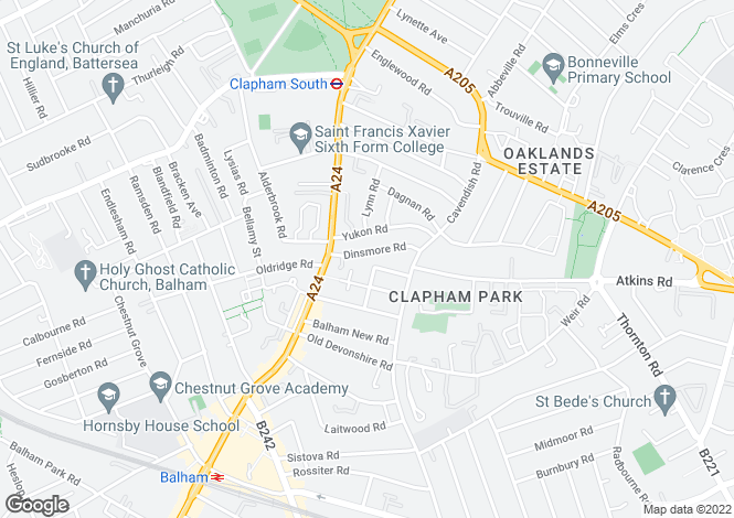 Map for Dinsmore Road, Clapham South