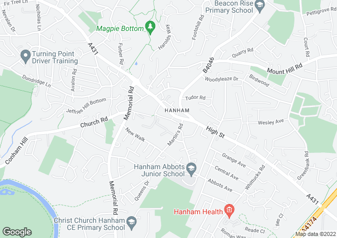 Map for Ansteys Road Hanham Bristol