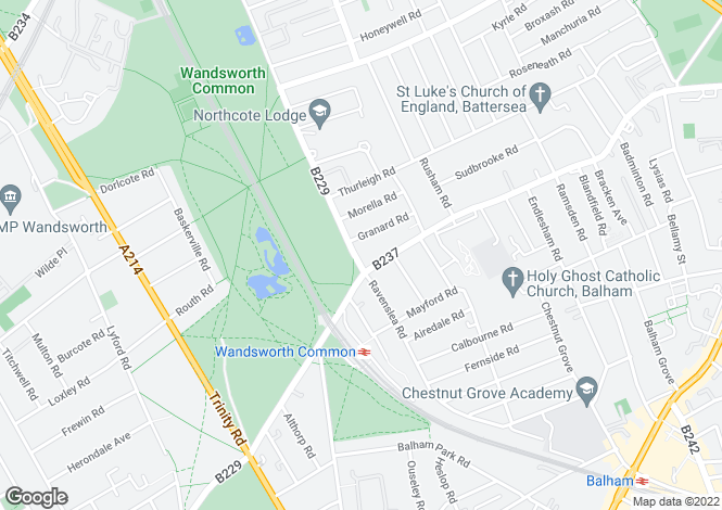 Map for Bolingbroke Grove, Clapham, London SW11 6ES