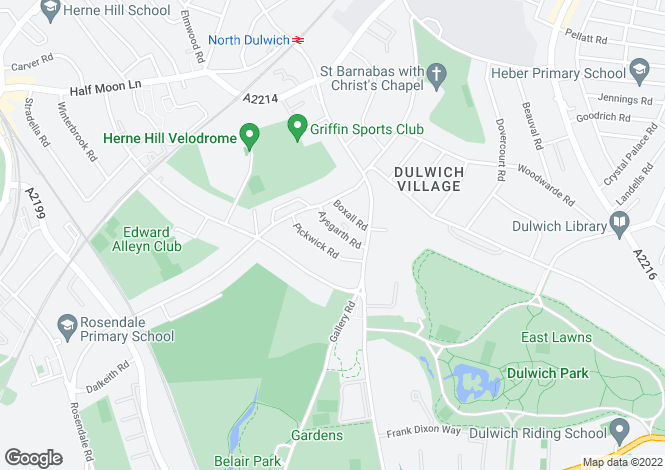 Map for Aysgarth Road, Dulwich Village