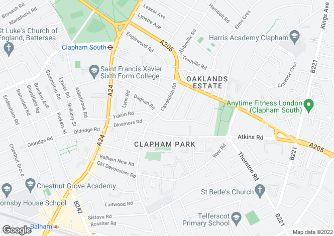 Map for Honeybrook Road, Clapham South, London
