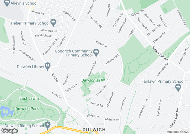 Map for Dunstans Road, East Dulwich, London, SE22 0HB