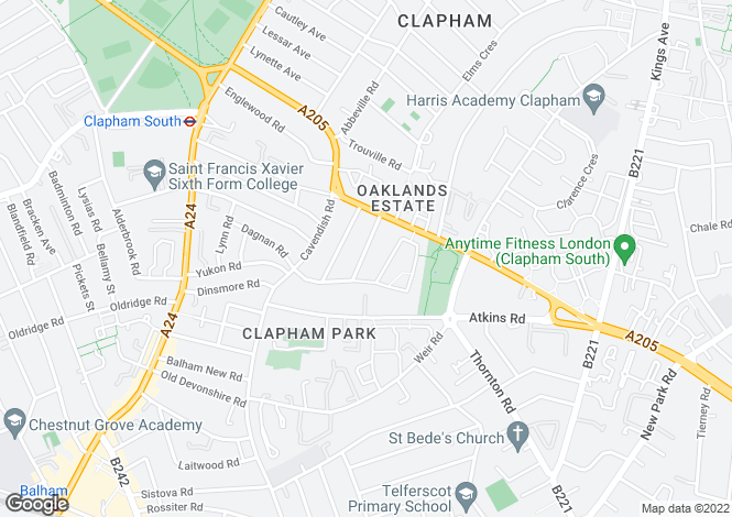 Map for Honeybrook Road, Clapham South, SW12
