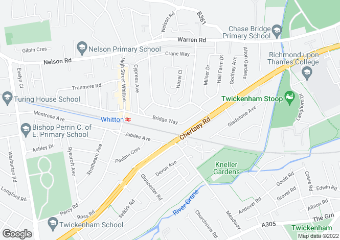 Map for Bridge Way, Whitton, Middlesex, TW2