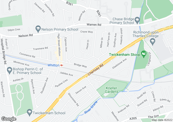 Map for Redway Drive, Whitton, Middlesex, TW2