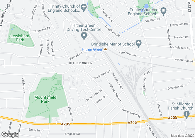 Map for Elthruda Road, Hither Green