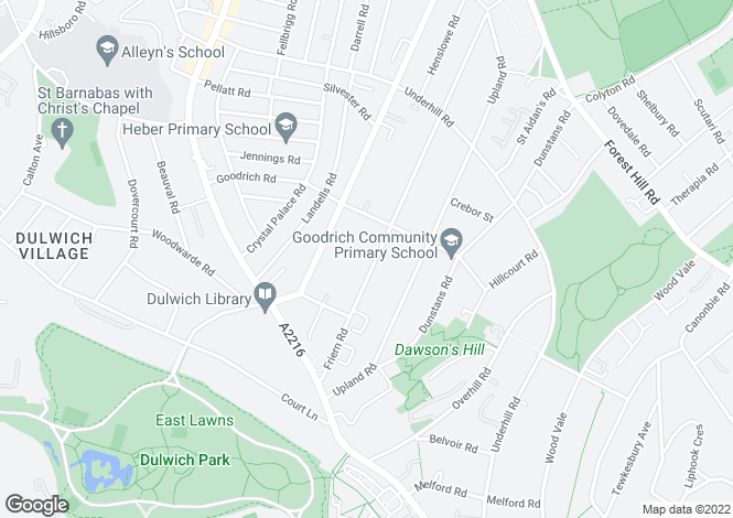 Map for Friern Road, East Dulwich