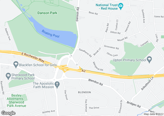 Map for Wellington Road, BEXLEY, Kent, DA5
