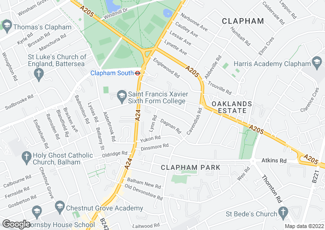 Map for Cathles Road, Clapham South SW12