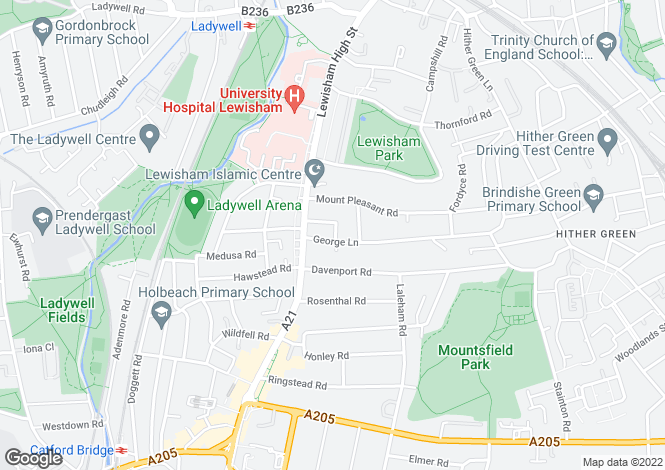 Map for George Lane, Lewisham, London,
