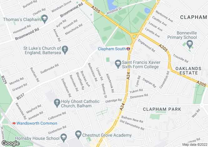 Map for Alderbrook Road, Clapham South, London, SW12