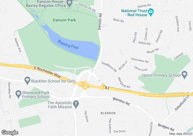Map for Danson Road,, Bexley